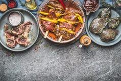 Diverse viande marinée dans des cuvettes pour le barbecue grillant ou faisant frire avec les épices sur le fond rustique, genres  Image stock
