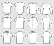 Diverse Voorzijde en de Rug van Overhemdsmalplaatjes stock illustratie