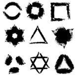 Diverse vormen van de inktslagen Stock Afbeeldingen