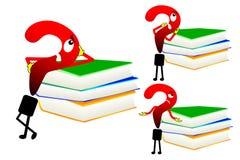 Diverse vraagteken en boeken Stock Foto's