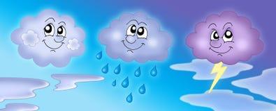 Diverse wolken op blauwe hemel stock illustratie
