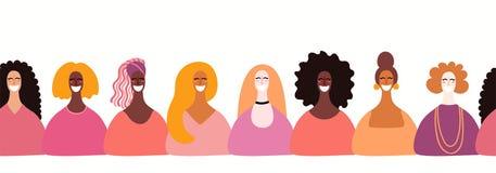 Diverse women seamless border stock illustration