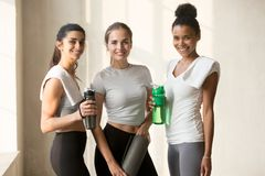 Prefect slim attractive women resting after workout stock images