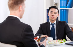Diverse workers during lunch time in office. Horizontal Stock Photography