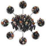 Diverse Workforce of Connected Professional People in Suits. Many people of different races in business suits connected by links in a communication networking Royalty Free Stock Photos