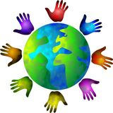 Diverse world. Colourful hands circling the world Stock Photo