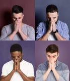 Diverse young men close faces set stock photography