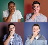 Diverse young men close mouth with hand set royalty free stock photos