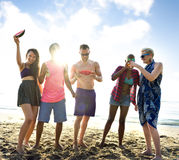 Diverse Young People Fun Beach Concept stock images