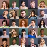 Diverse young people negative emotions set. Collage of emotional diverse multiethnic people. Set of male and female negative portraits on colorful studio royalty free stock image