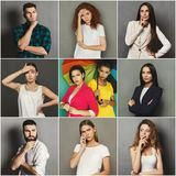 Diverse young people pensive emotions set royalty free stock image