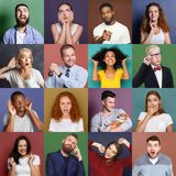 Diverse young people positive and negative emotions set. Collage of emotional diverse multiethnic people. Set of male and female positive and negative portraits stock photo