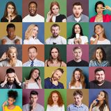 Diverse young people positive and negative emotions set. Different emotions collage. Set of male and female emotional portraits. Young diverse people grimacing royalty free stock image