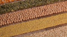 Diverse zaden en korrels die in kleurrijke diagonale strepen worden geschikt stock videobeelden