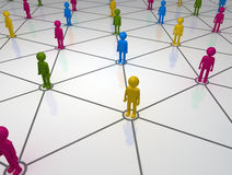 Diversed Social Network Grid. Network of People individuals linked in a circular network Stock Images