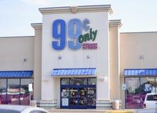 99 diversehandel för cent endast, Fort Worth, Texas Arkivbilder