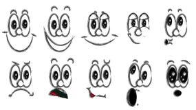 Diverses émotions noires et blanches : joie, sourire, colère, plaisir, mécontentement, enjouement, amusement, surprise, plaisir illustration de vecteur