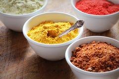 Diverses épices colorées sur la table en bois dans des cuvettes Ingrédients de nourriture et de cuisine Image libre de droits