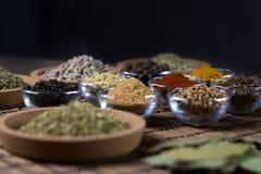 Diverses épices fraîches dans des cuvettes, Image libre de droits