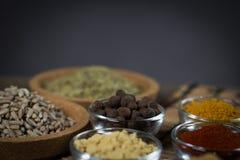 Diverses épices fraîches dans des cuvettes, Images libres de droits