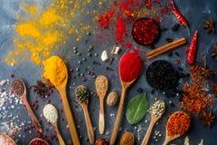 Diverses épices indiennes dans des cuillères et des cuvettes en bois en métal, des graines, des herbes et des écrous photographie stock