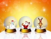 Diverses boules de cristal de Noël Photos libres de droits