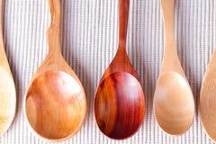 Diverses cuillères en bois pour des épices Photo stock