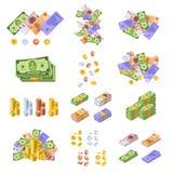 Diverses devises monétaires, sous la forme d'argent liquide, billets de papier, pièces Illustration Libre de Droits