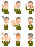 Diverses expressions du visage d'un homme plus âgé illustration libre de droits