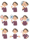 Diverses expressions du visage des femmes agées 2 illustration de vecteur