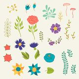 Diverses fleurs d'éléments floraux romantiques dans rétro illustration libre de droits