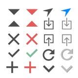 Diverses icônes sur un message blanc de fond envoyé icône, icônes de téléchargement, icônes plus, icônes négatives illustration libre de droits
