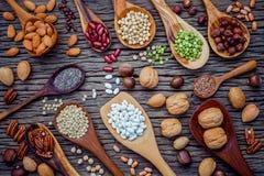 Diverses légumineuses et différents genres de coquilles de noix dans des cuillères Waln Photographie stock