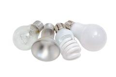 Diverses lampes électriques de différents types d'éclairage électrique Photographie stock