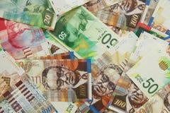 Diverses notes israéliennes de shekel avec la nouvelle note cinquante Photos stock