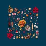 Diverses nourritures de Noël et décoration rouge pour le dîner de Noël Modèle de composition sur bleu-foncé illustration stock