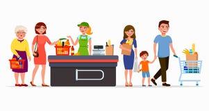 Diverses personnes plates aux produits de achat de supermarché à la caisse avec le caissier mignon Hommes et femmes au mail famil illustration libre de droits
