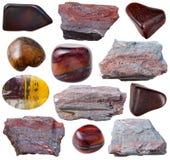 Diverses pierres ferrugineuses de quartzite (jaspillite) Photographie stock