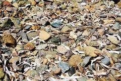 Diverses pierres, morceaux en bois, fond abstrait Photographie stock
