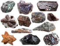 Diverses roches et pierres naturelles d'isolement Image stock