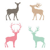 Diverses silhouettes des cerfs communs Photo stock