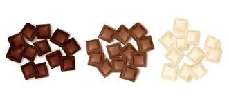 Diverses tranches de chocolat réglées illustration stock