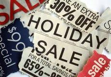 Diverses vacances en signes de vente Photographie stock