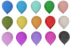 Diversión colorida de los globos para el partido en la representación 3D Fotografía de archivo libre de regalías