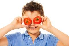 Diversión con los tomates Imagenes de archivo