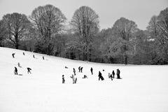 Diversión de la familia en las cuestas de la nieve Imagenes de archivo