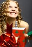 Diversión de la muchacha de la Navidad imagen de archivo libre de regalías