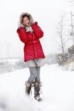 Diversión de la mujer de la nieve del invierno Imagen de archivo libre de regalías