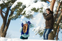 Diversión de la nieve del invierno Foto de archivo libre de regalías