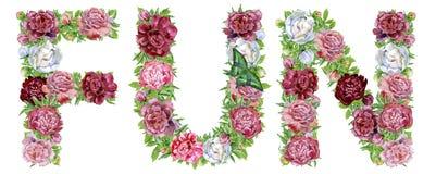 DIVERSIÓN de la palabra de las flores de la acuarela libre illustration